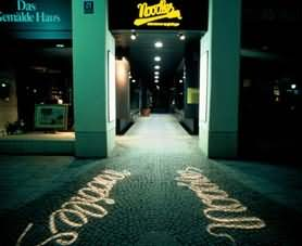 Gobo Projection on sidewalk at night